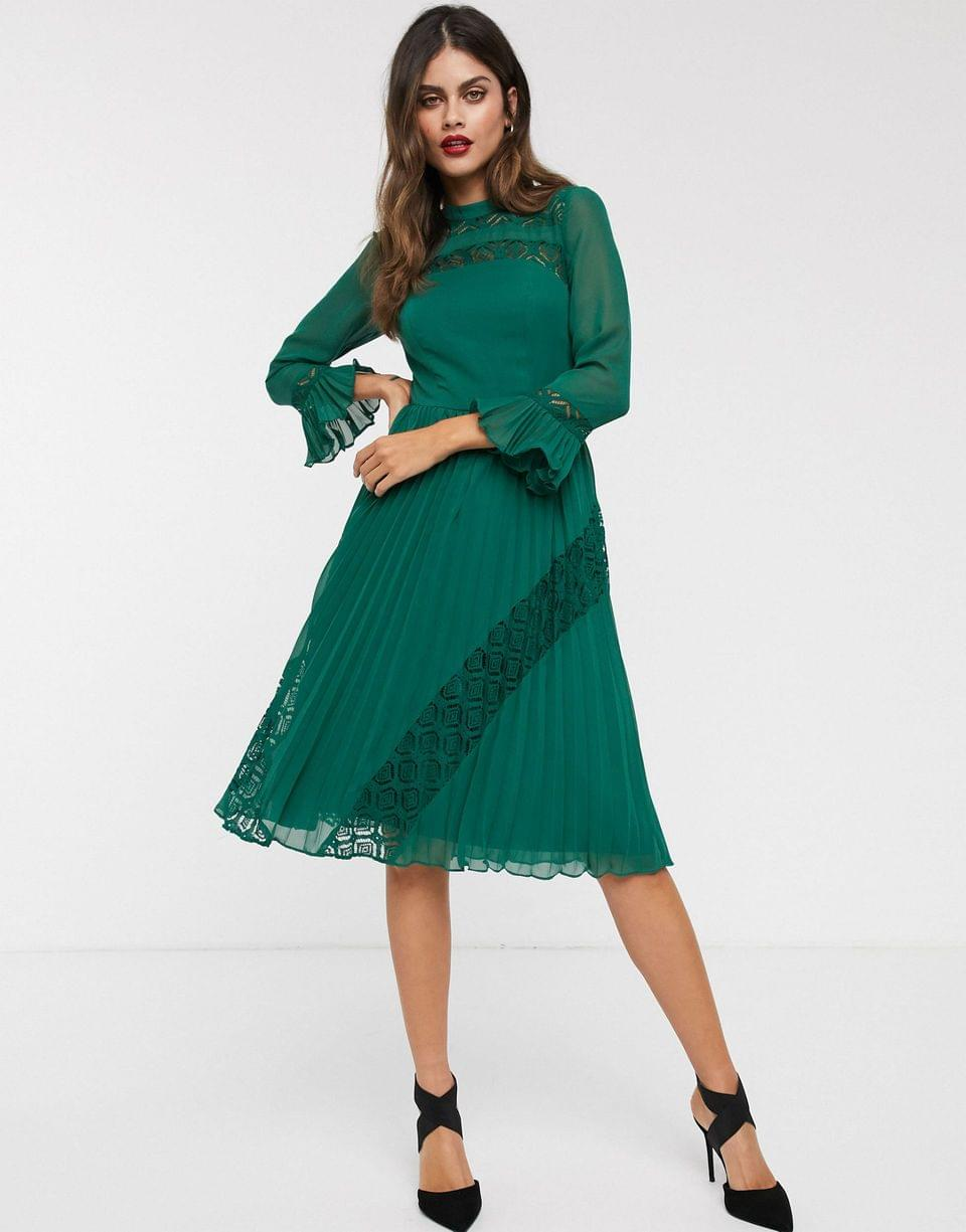Women's lace insert pleated midi skater dress with long sleeves