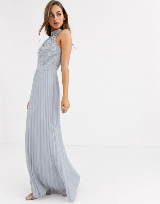 WOMEN Chi Chi London lace detail maxi dress with pleated skirt in gray