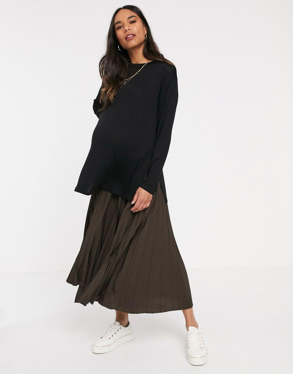 Women's Maternity longline top with long sleeve in textured jersey in black
