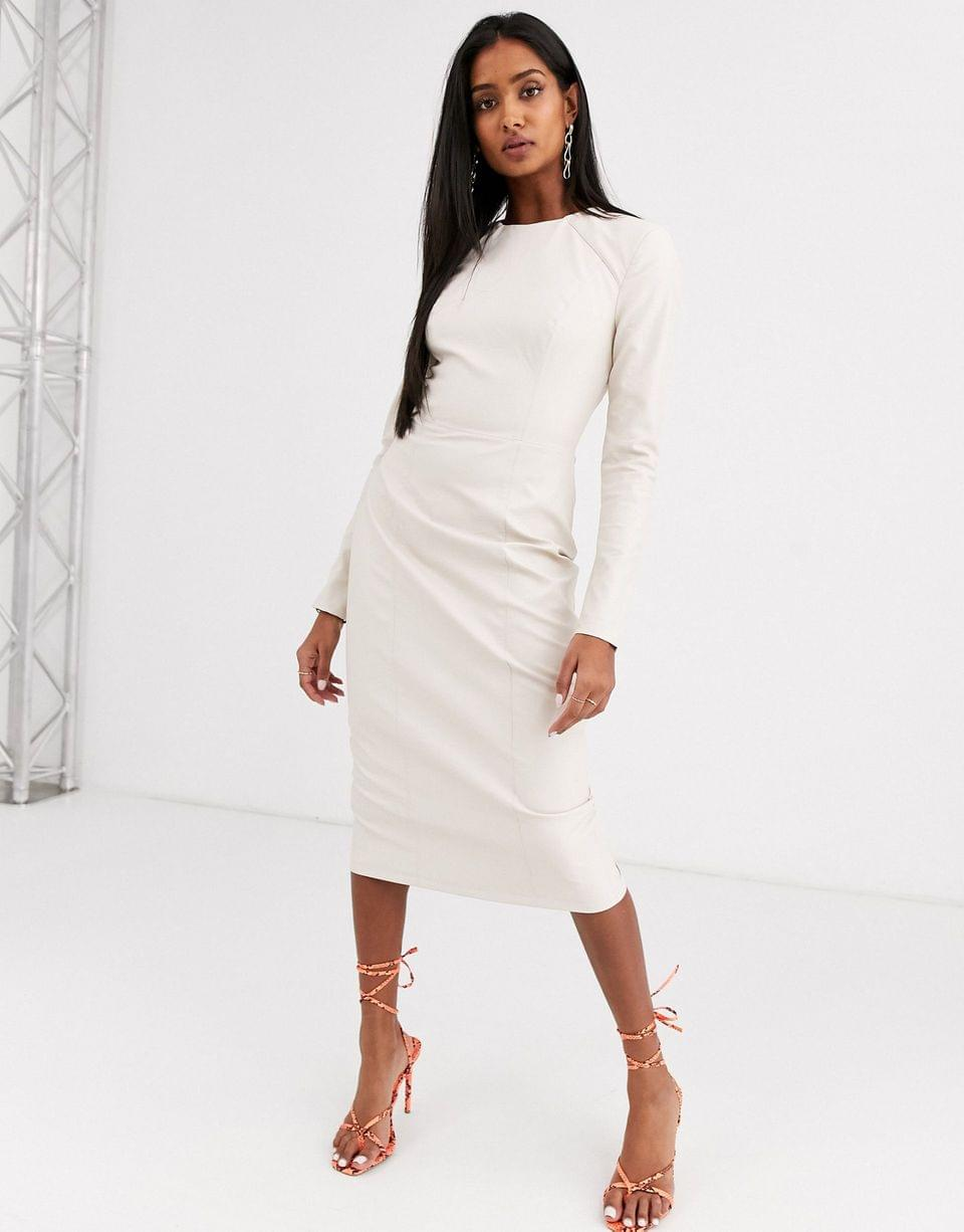Women's leather look long sleeve midi pencil dress
