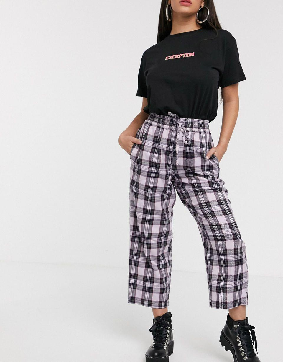 Women's Petite lilac check pull on pants