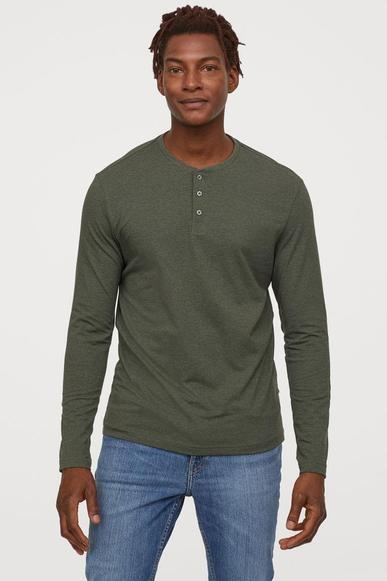 Men's Slim Fit Henley Shirt