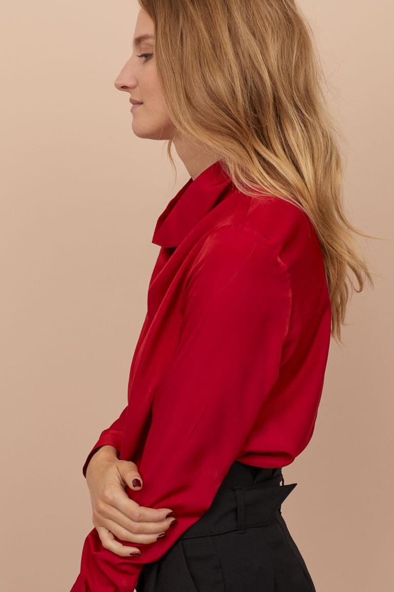 Women's Blouse with Draped Collar