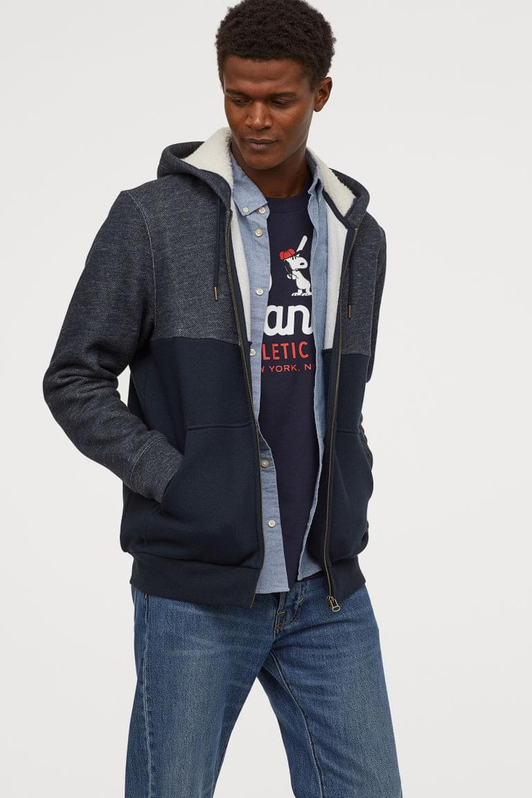 Men's Jacket with Pile-lined Hood