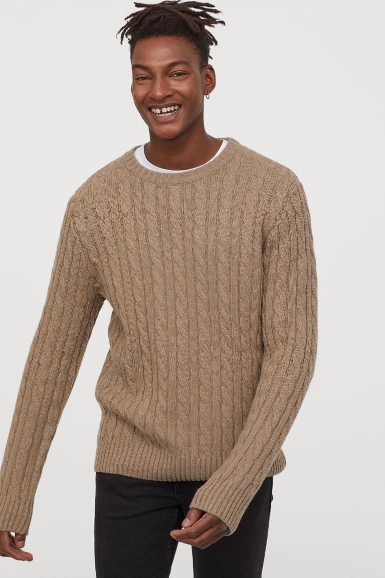 Men's Cable-knit Wool-blend Sweater