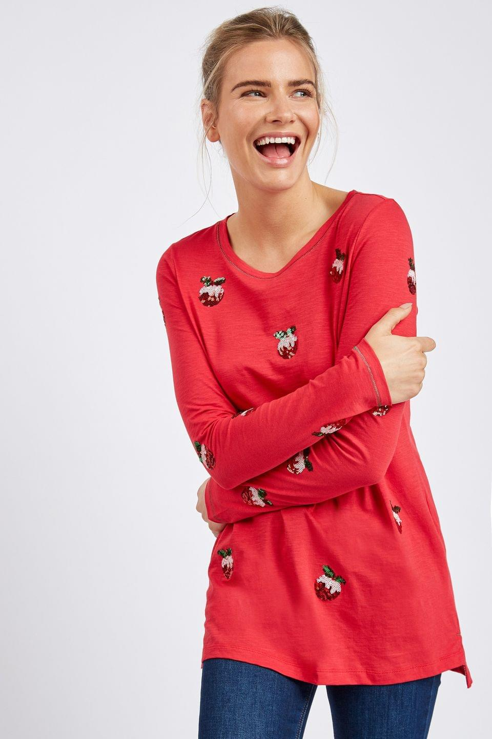 Women's Red Pudding Christmas Long Sleeve T-Shirt