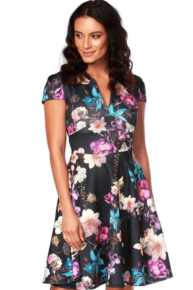 WOMEN Want That Trend Marigold Floral Keyhole Skater Dress
