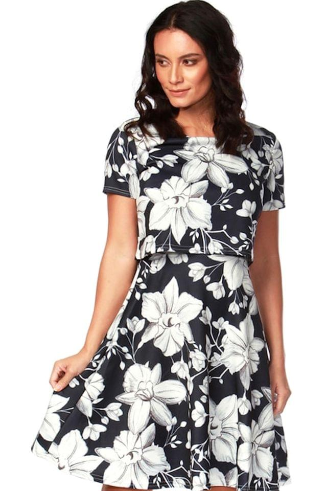 WOMEN Want That Trend Floral Overlay Skater Dress