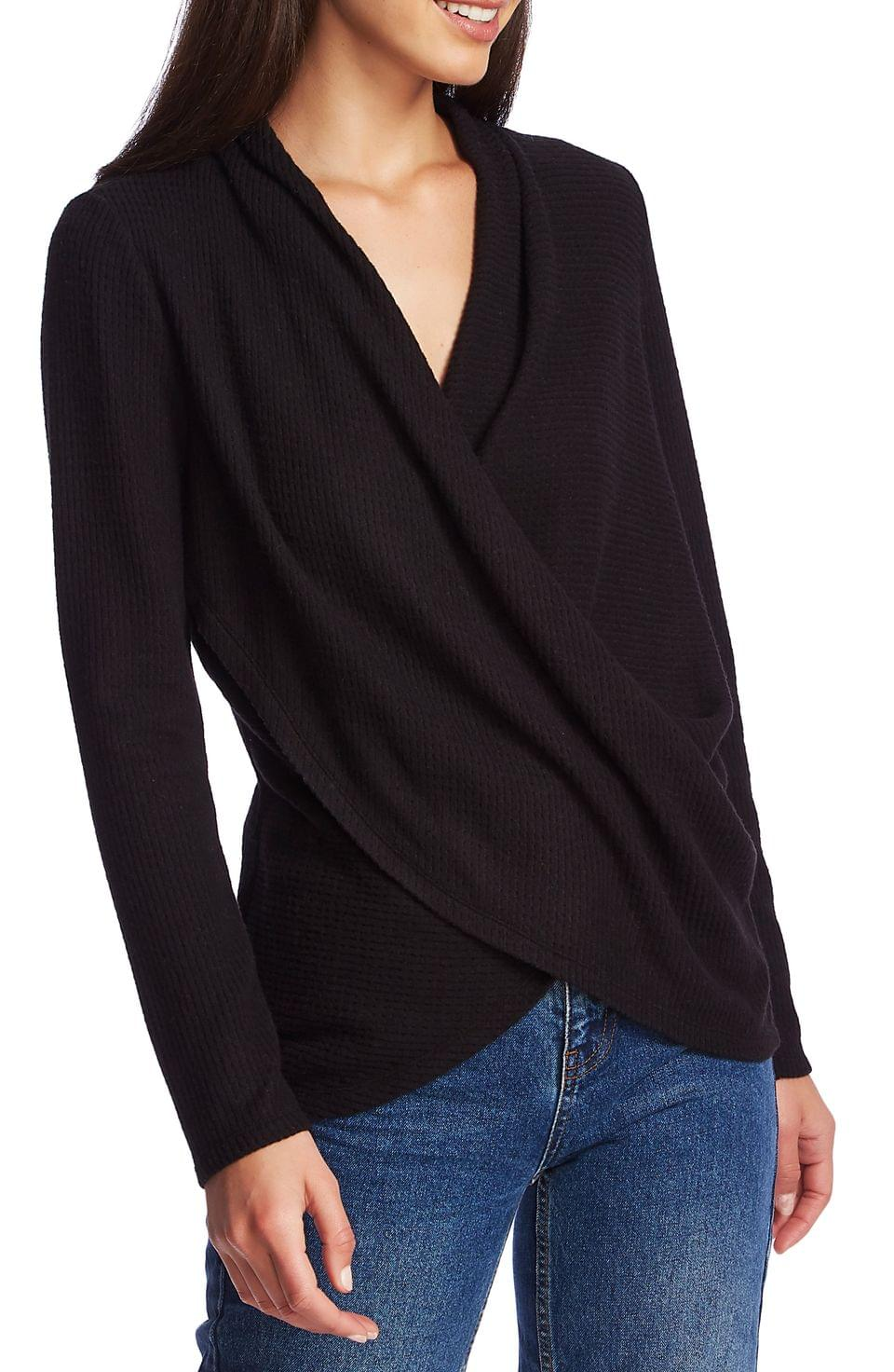 Women's 1.STATE Waffle Knit Cross Front Top