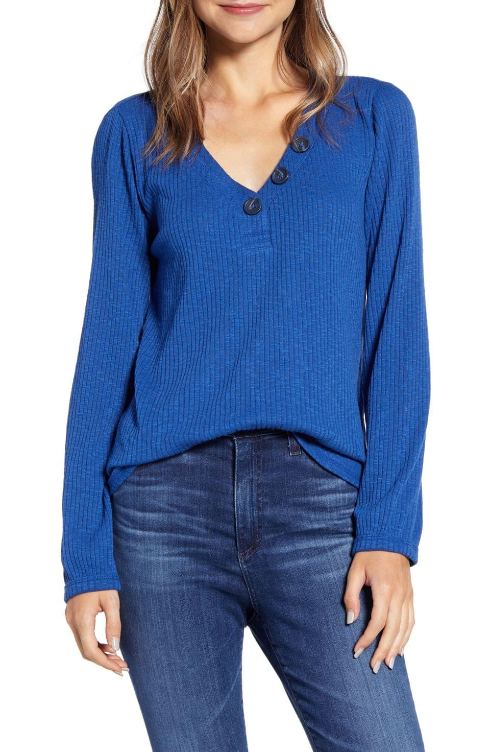 Women's Caslon Ribbed Henley Top