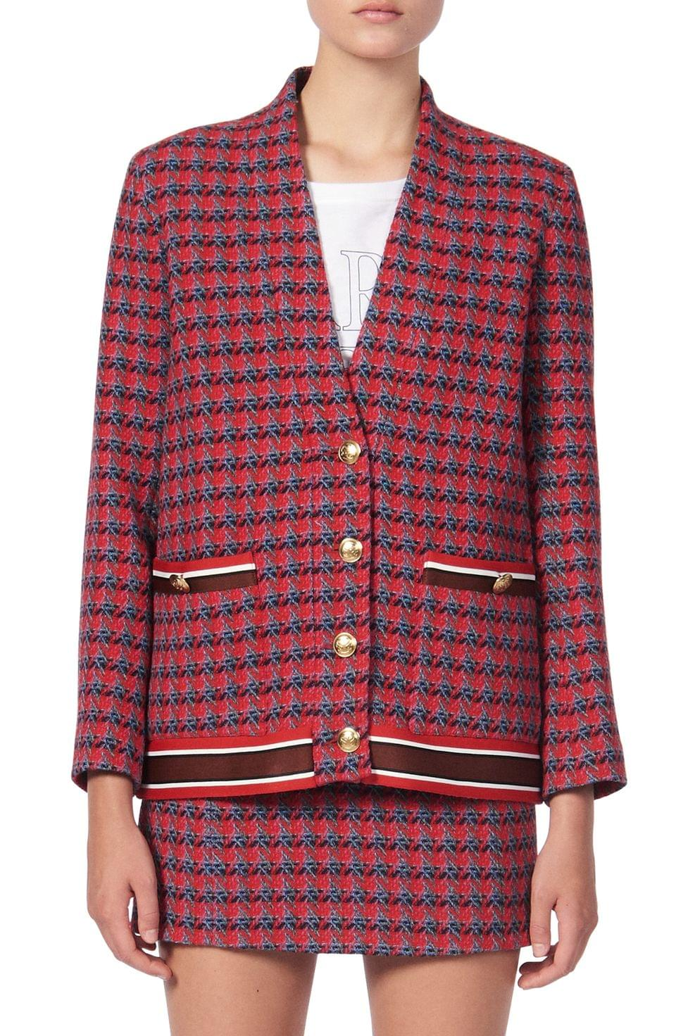 Women's sandro Sheni Tweed Wool & Cotton Blend Jacket
