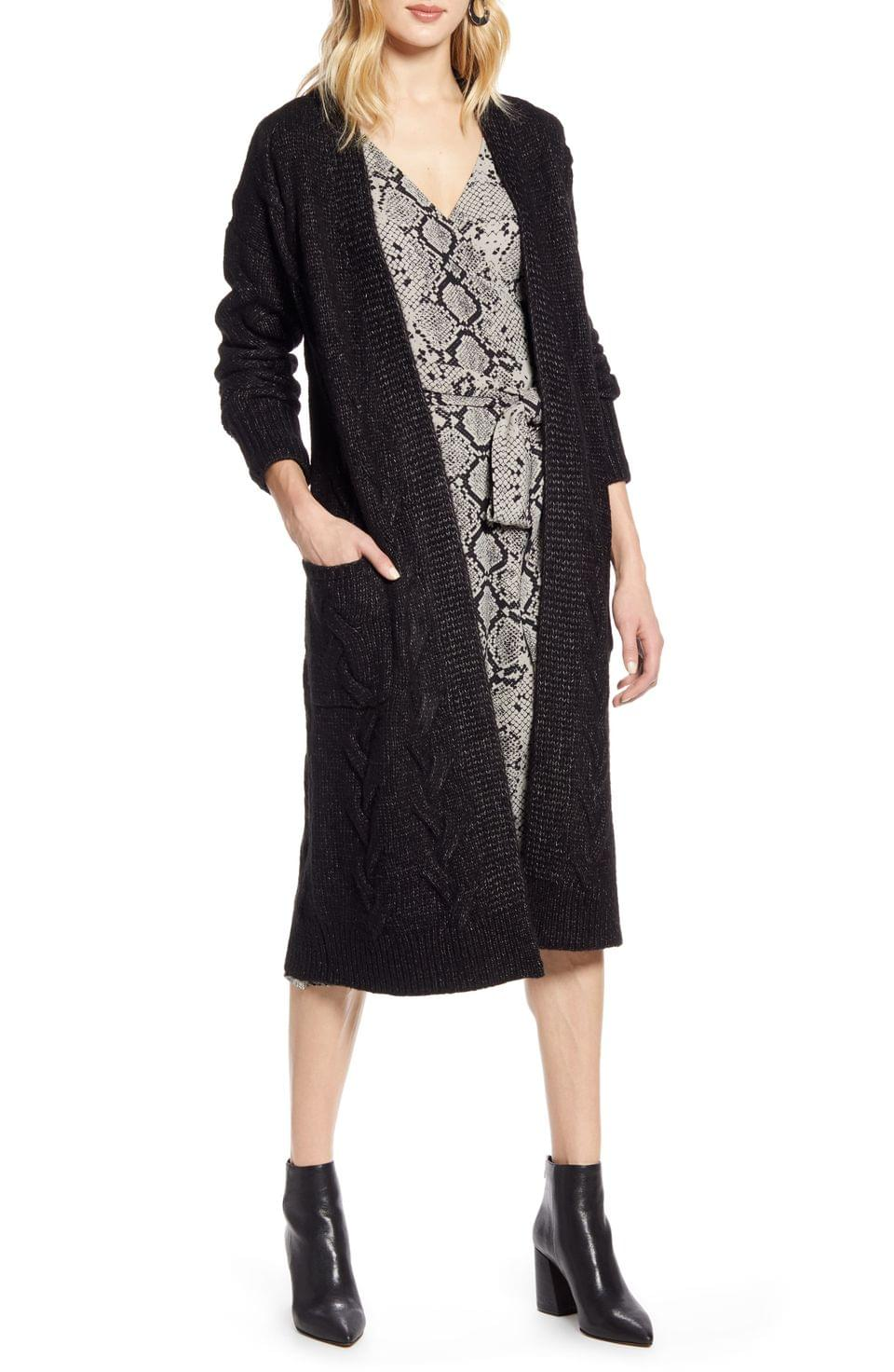 Women's Halogen Cable Knit Long Cardigan (Regular & Petite)