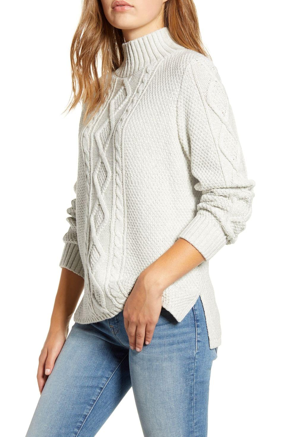 Women's Lucky Brand Cable Knit Turtleneck Cotton & Wool Blend Sweater