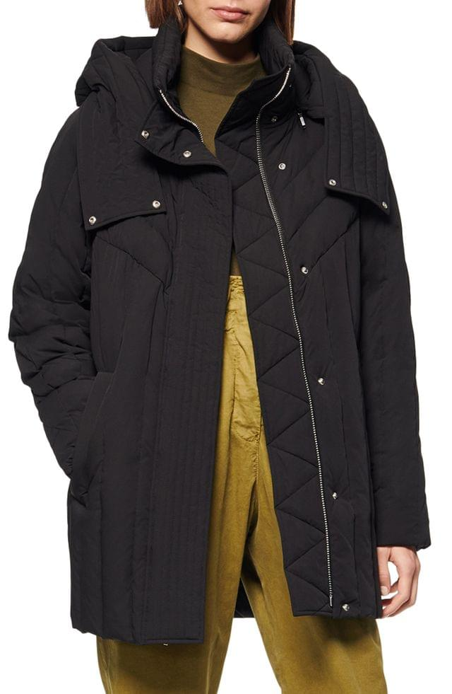 WOMEN Andrew Marc Hooded Down & Feather Cocoon Coat