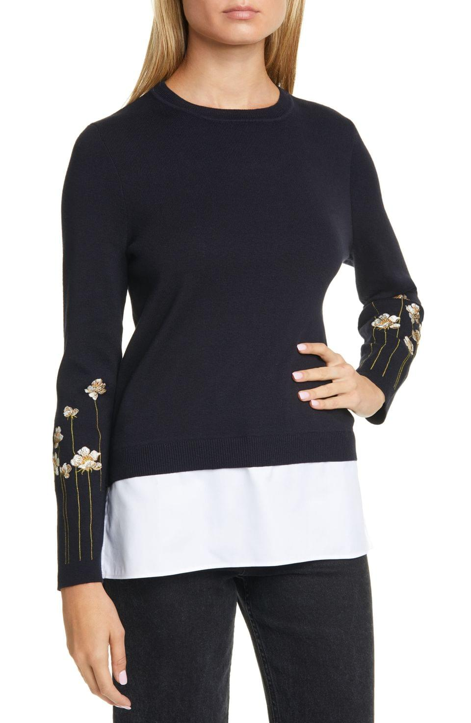 Women's Ted Baker London Floral Embroidery Layered Cotton Sweater
