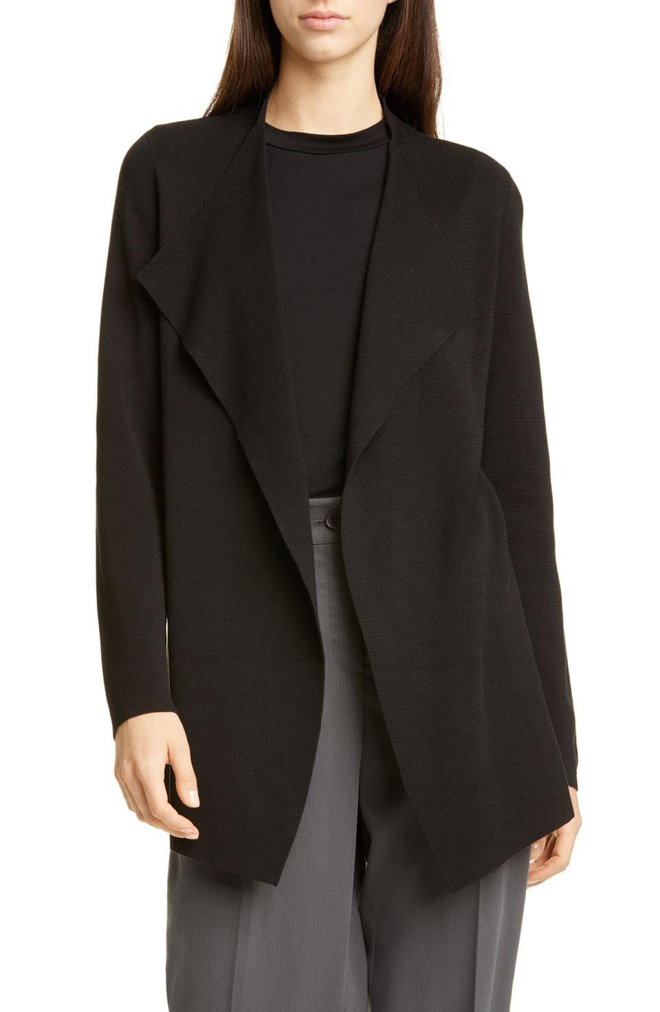 Women's Eileen Fisher Waterfall Lapel Silk & Organic Cotton Jacket