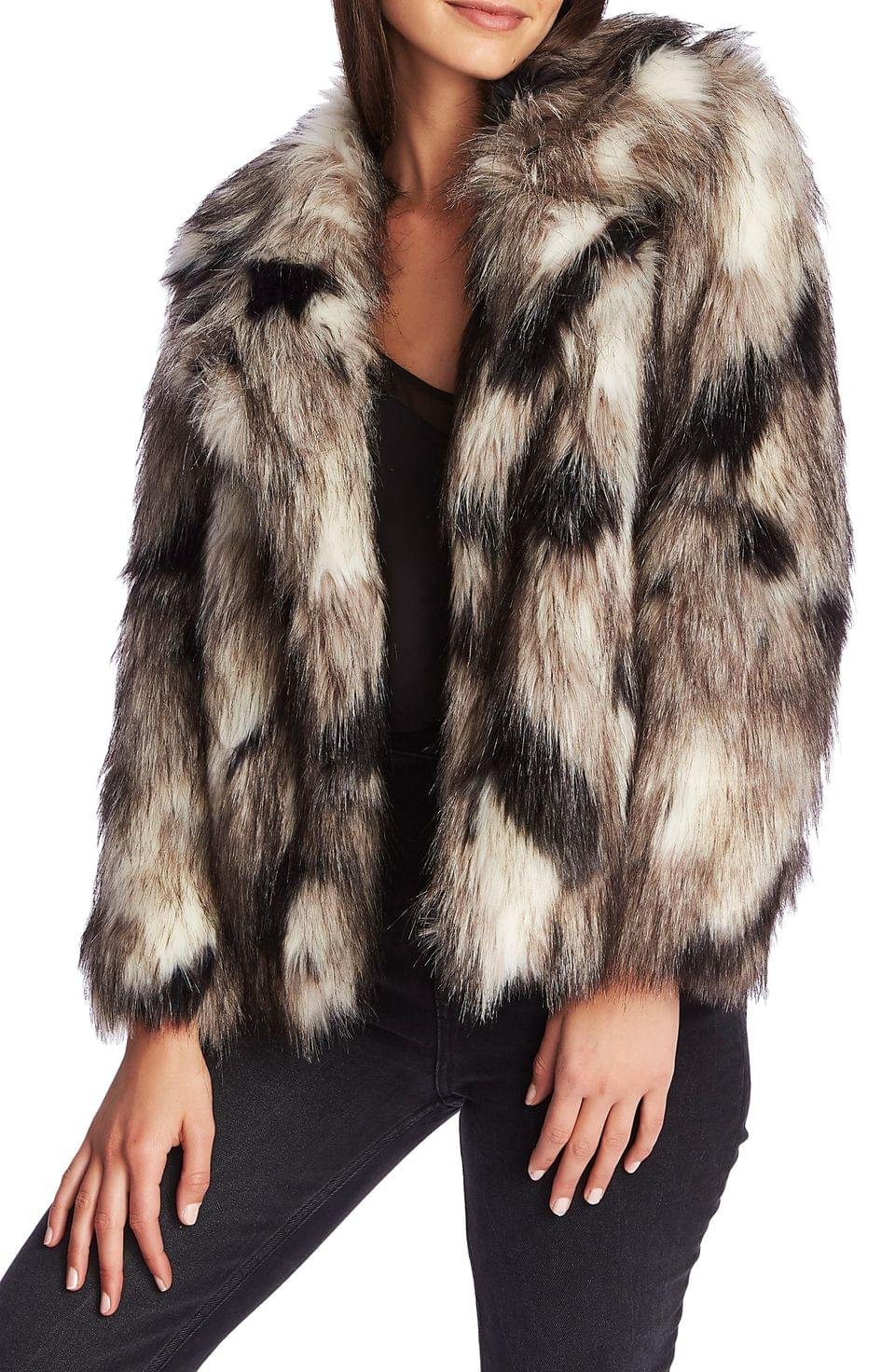 Women's 1.STATE Crop Faux Coyote Fur Jacket