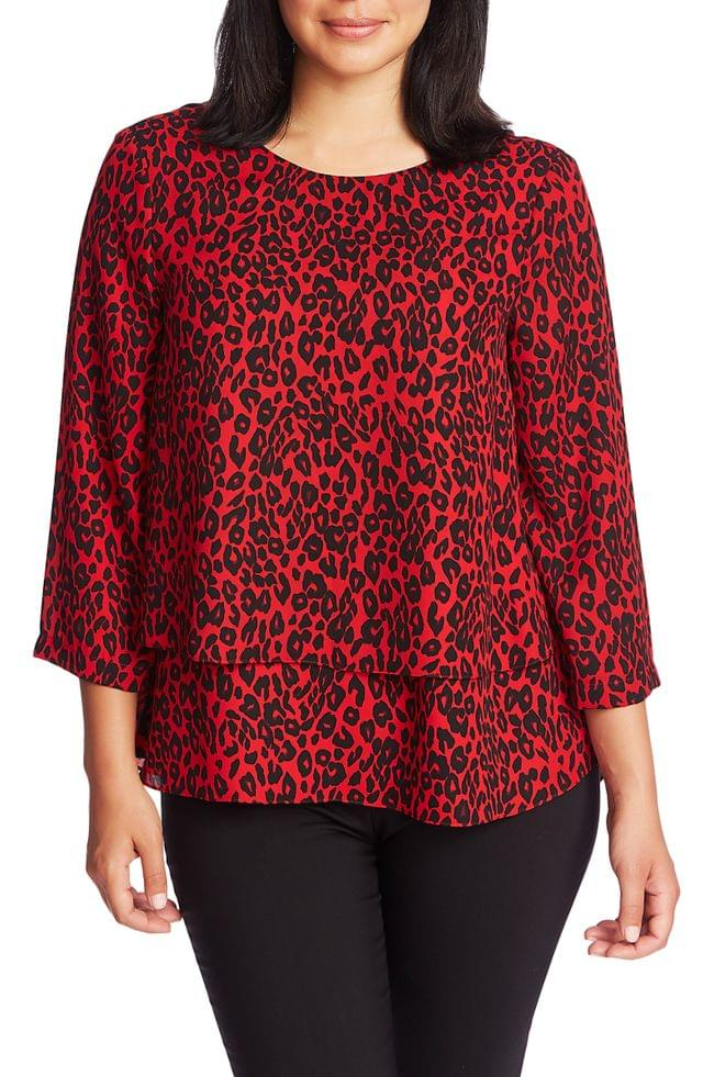 WOMEN Chaus Red Leopard Print Layered Georgette Top