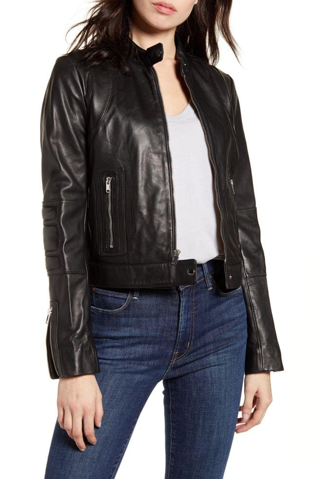 WOMEN Andrew Marc Leather Racer Jacket