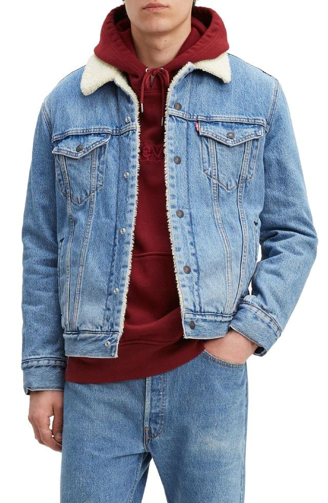 MEN Levi's Faux Shearling Lined Denim Trucker Jacket with Jacquard by Google Technology