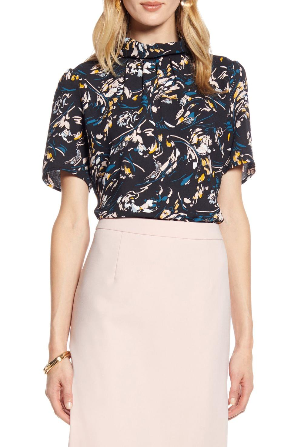 Women's Halogen Floral Print Pleated Neck Top