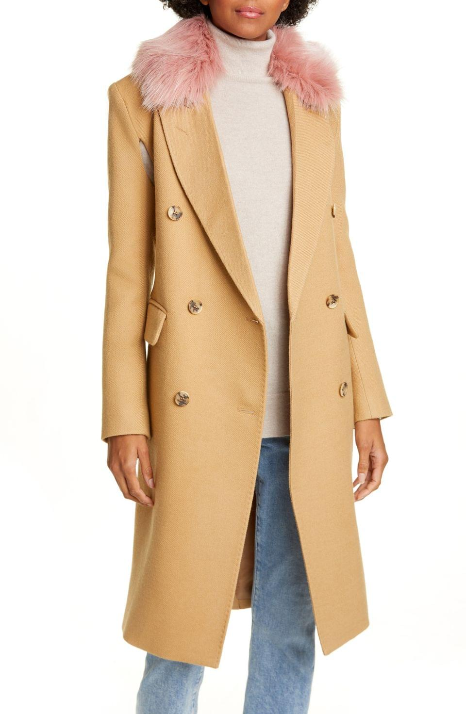 Women's Smythe Wool Blend Cape Coat with Removable Faux Fur Collar
