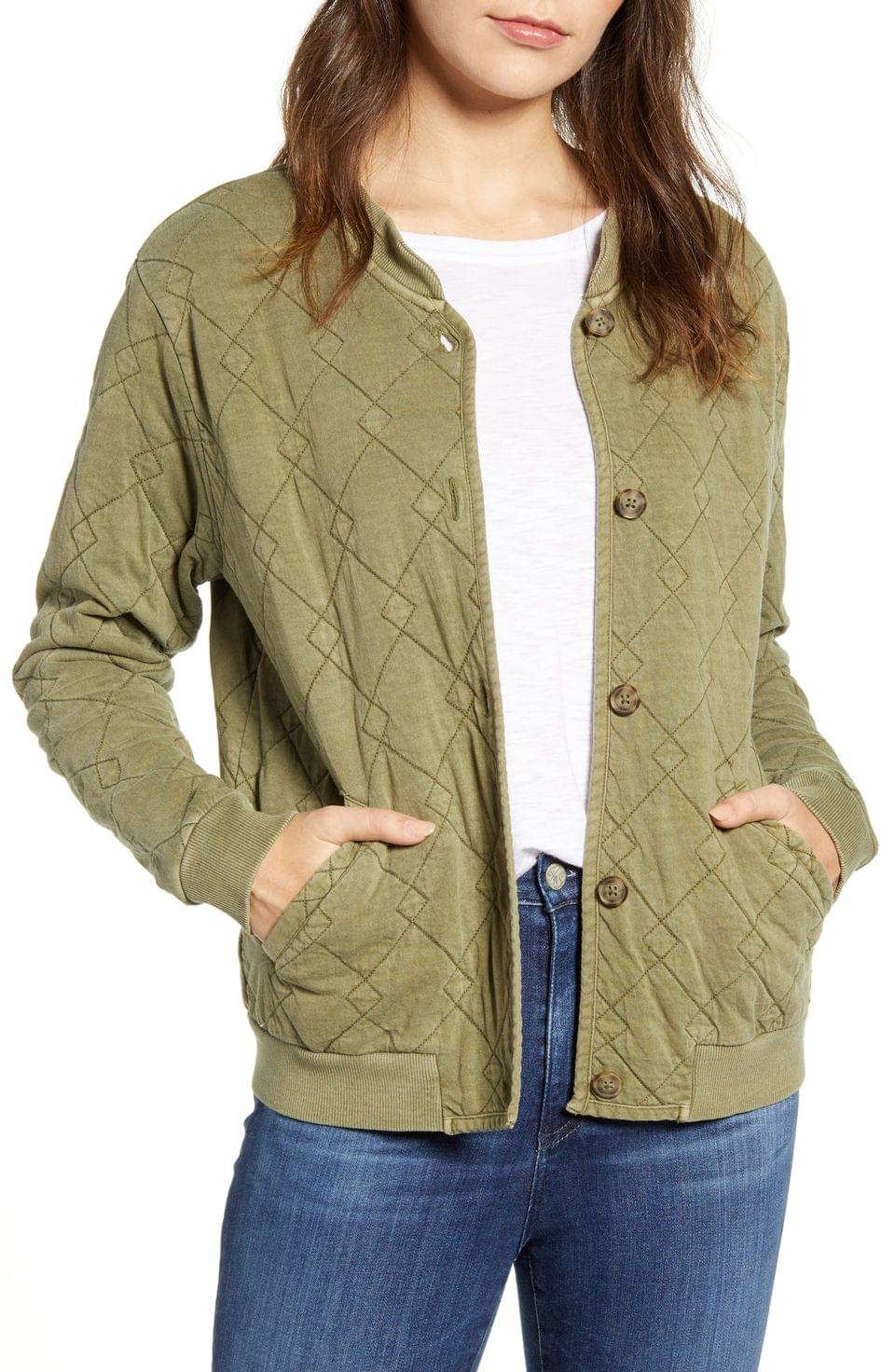 Women's Lucky Brand Quilted Cotton Bomber Jacket
