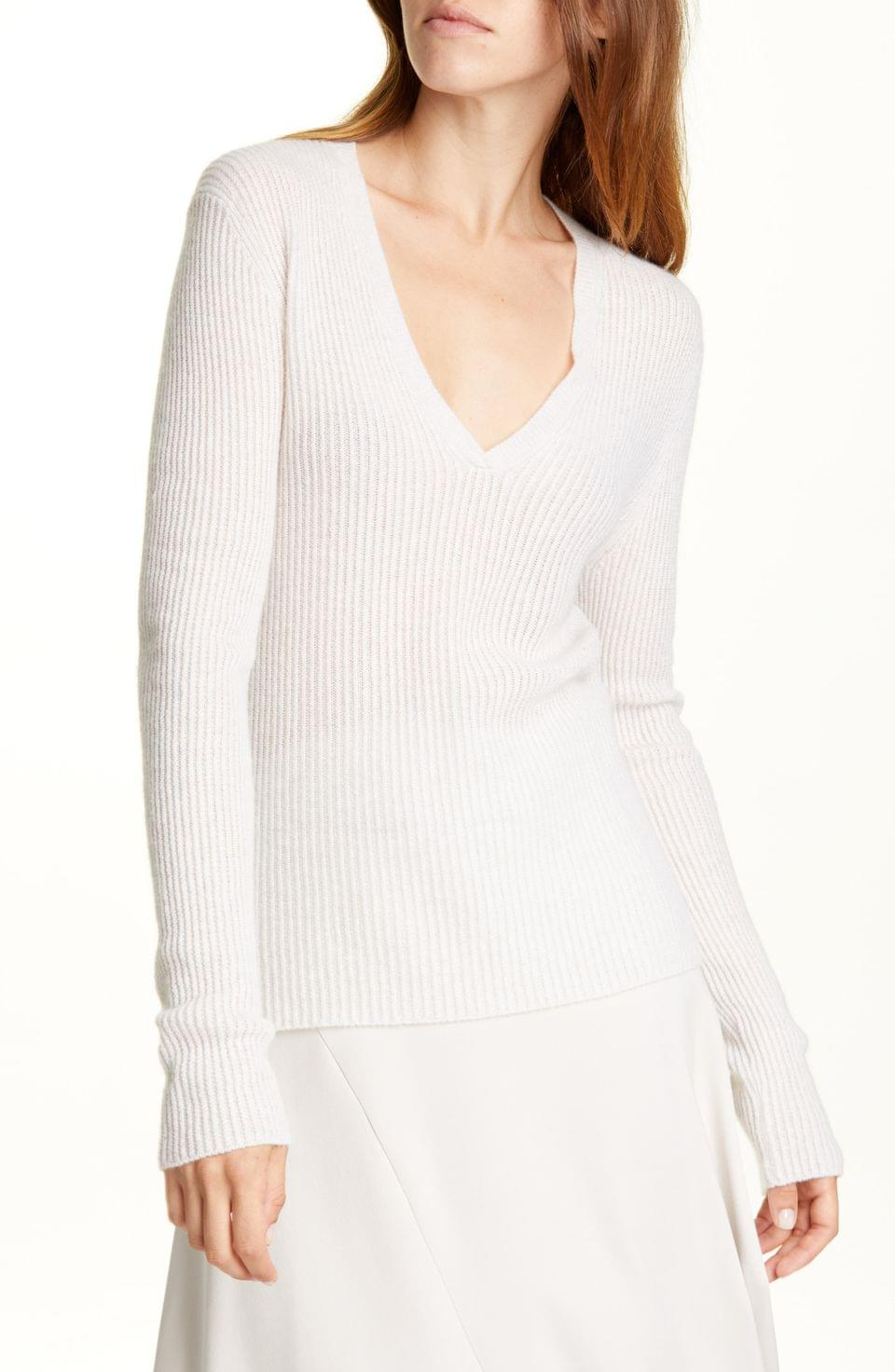 Women's Vince Ribbed Cashmere V-Neck Sweater