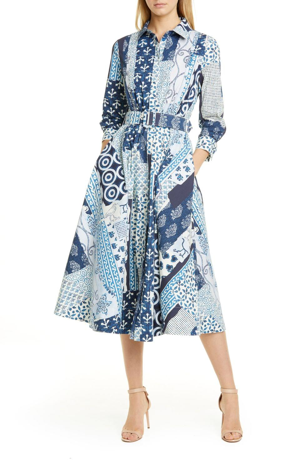 Women's Oscar de la Renta Woodblock Print Long Sleeve Poplin Midi Shirtdress