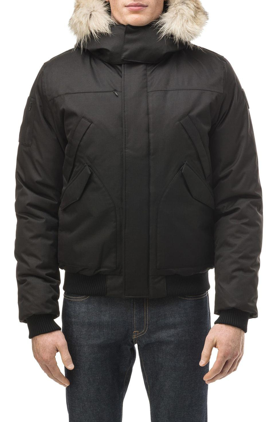 Men's nobis Dylan Windproof & Waterproof 650-Fill Power Down Bomber Jacket with Genuine Coyote Fur Trim