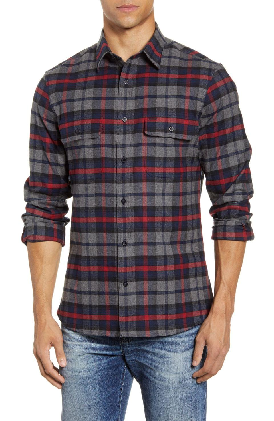 Men's Nordstrom Men's Shop Trim Fit Plaid Flannel Button-Up Shirt