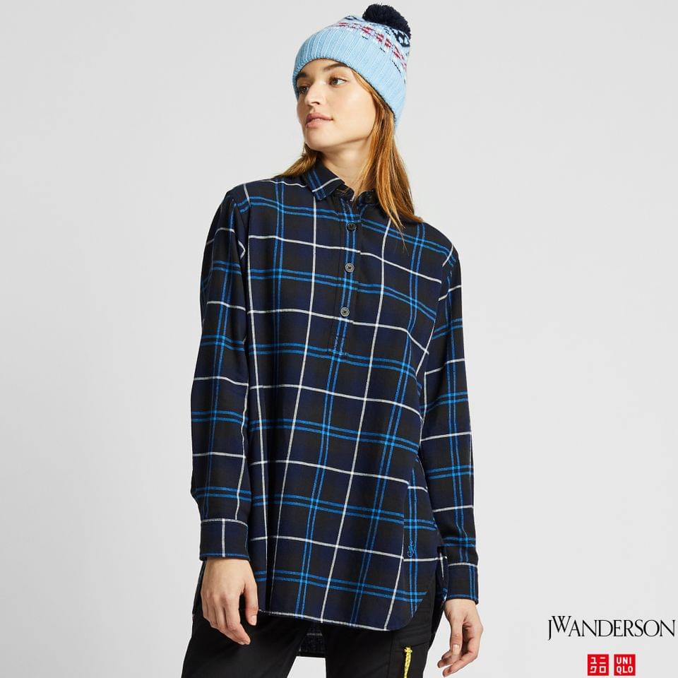 Women's WOMEN FLANNEL CHECKED LONG-SLEEVE TUNIC (JW ANDERSON)