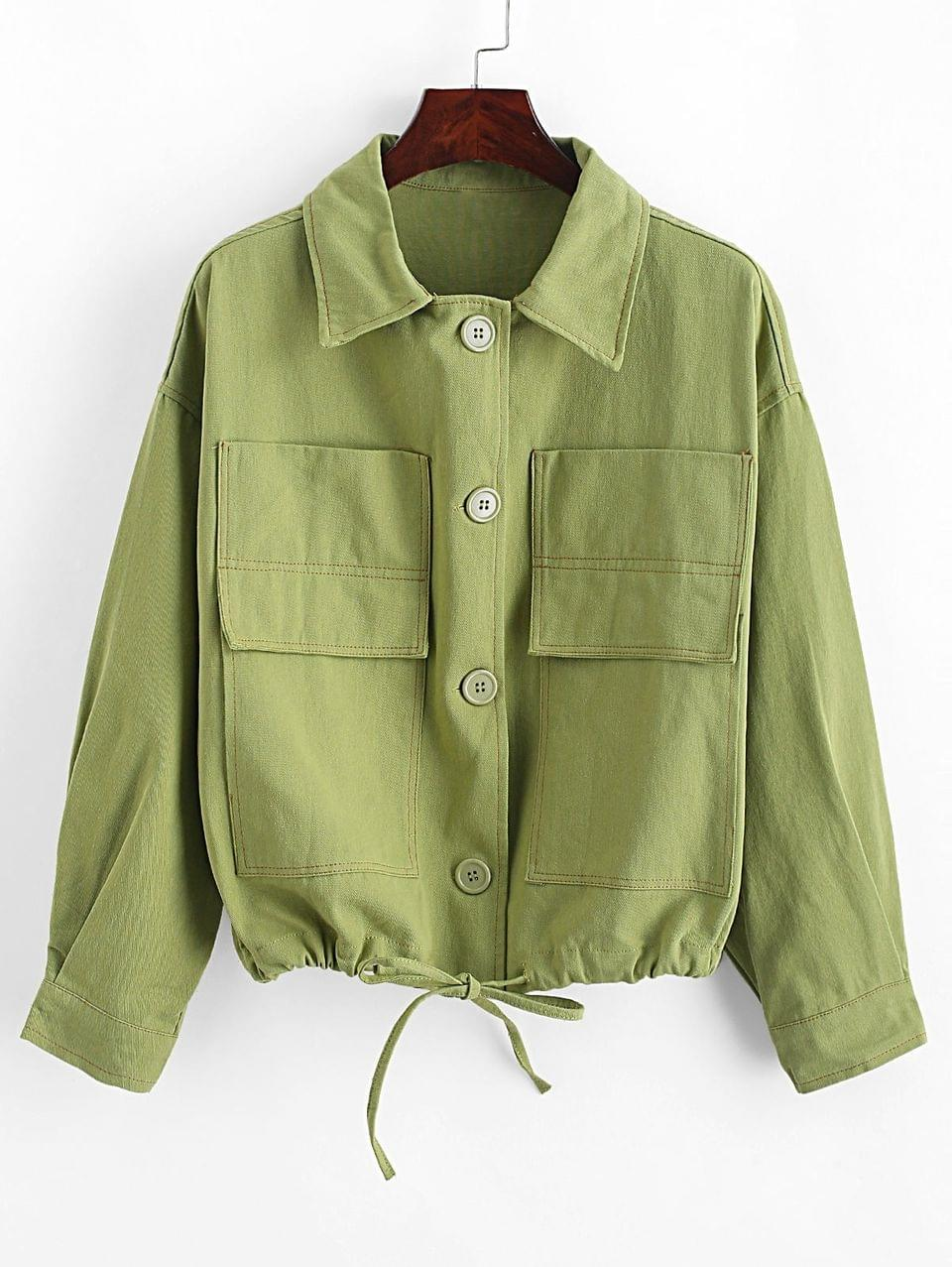 Women's Drawstring Hem Patched Pockets Button Front Jacket - Light Green
