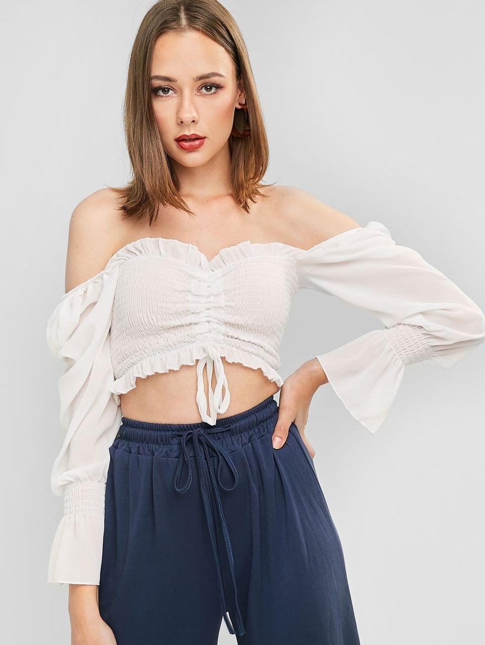 Women's Off Shoulder Ruched Poet Sleeve Cropped Blouse - White S