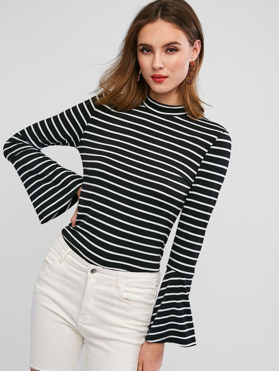 Women's Striped Crew Neck Flare Sleeve Tee - Black S