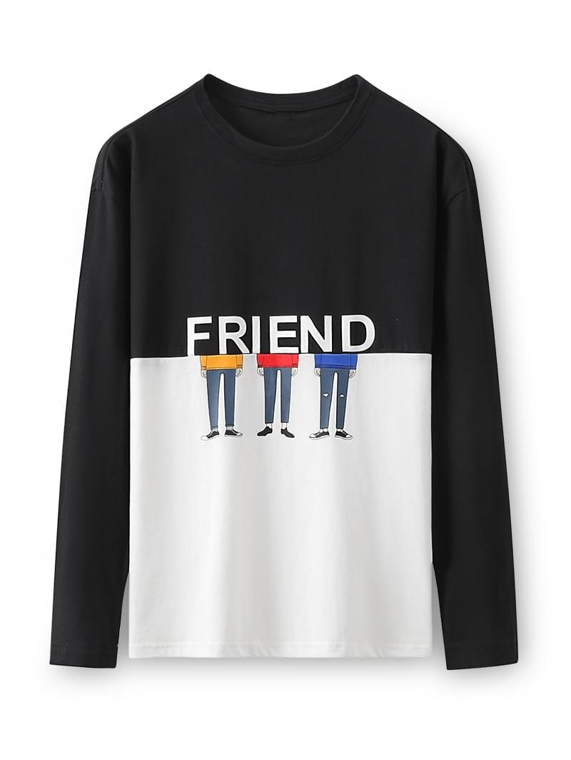 Men's Two Tone Friend Cartoon Character Long Sleeve T-shirt - Black M