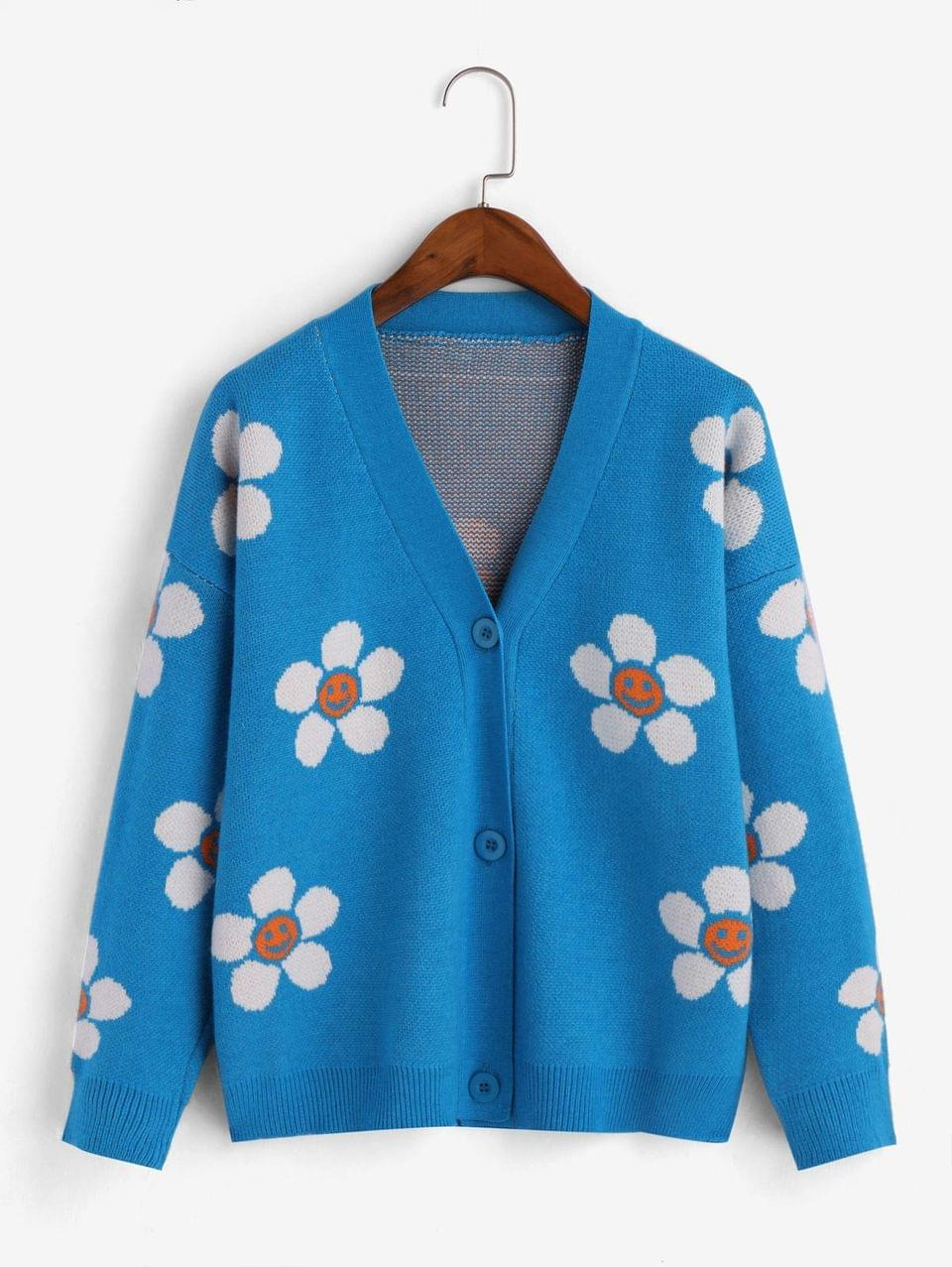Women's Drop Shoulder Button Up Floral Graphic Cardigan - Crystal Blue