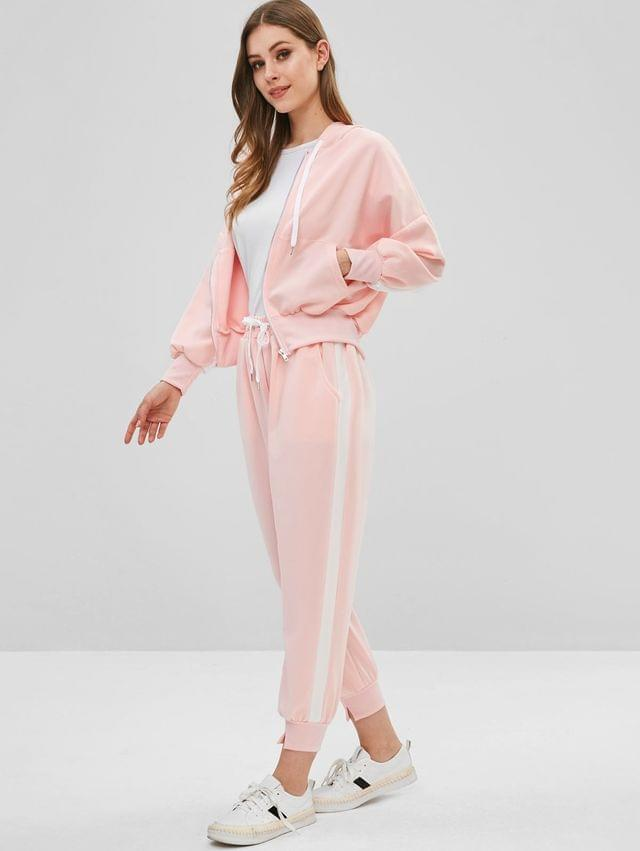 WOMEN Zip Up Hoodie And Joggers Pants Tracksuit - Pig Pink M