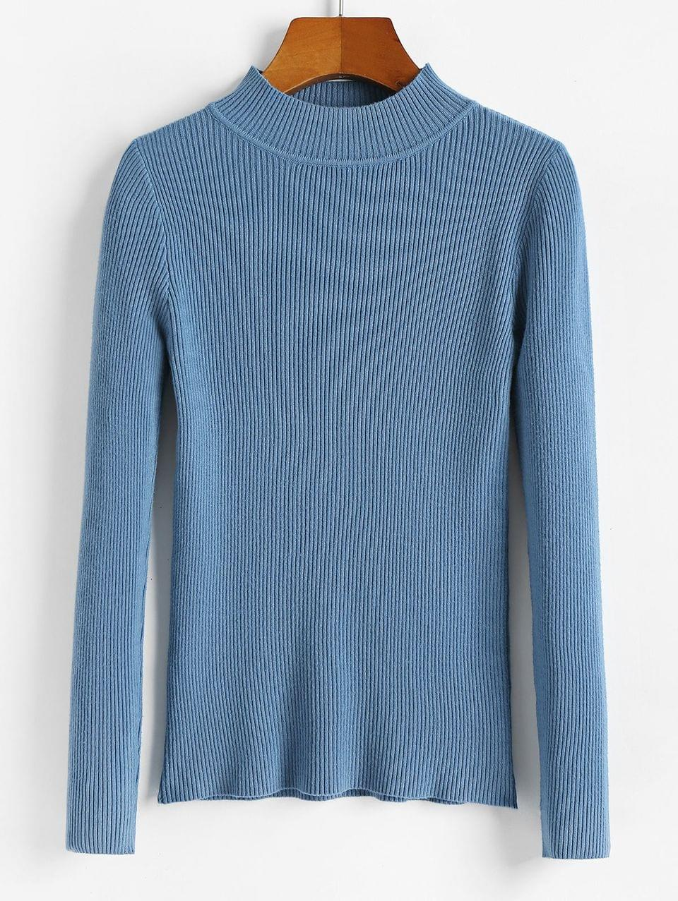 Women's Ribbed Mock Neck Slim Knitted Sweater - Blue Ivy