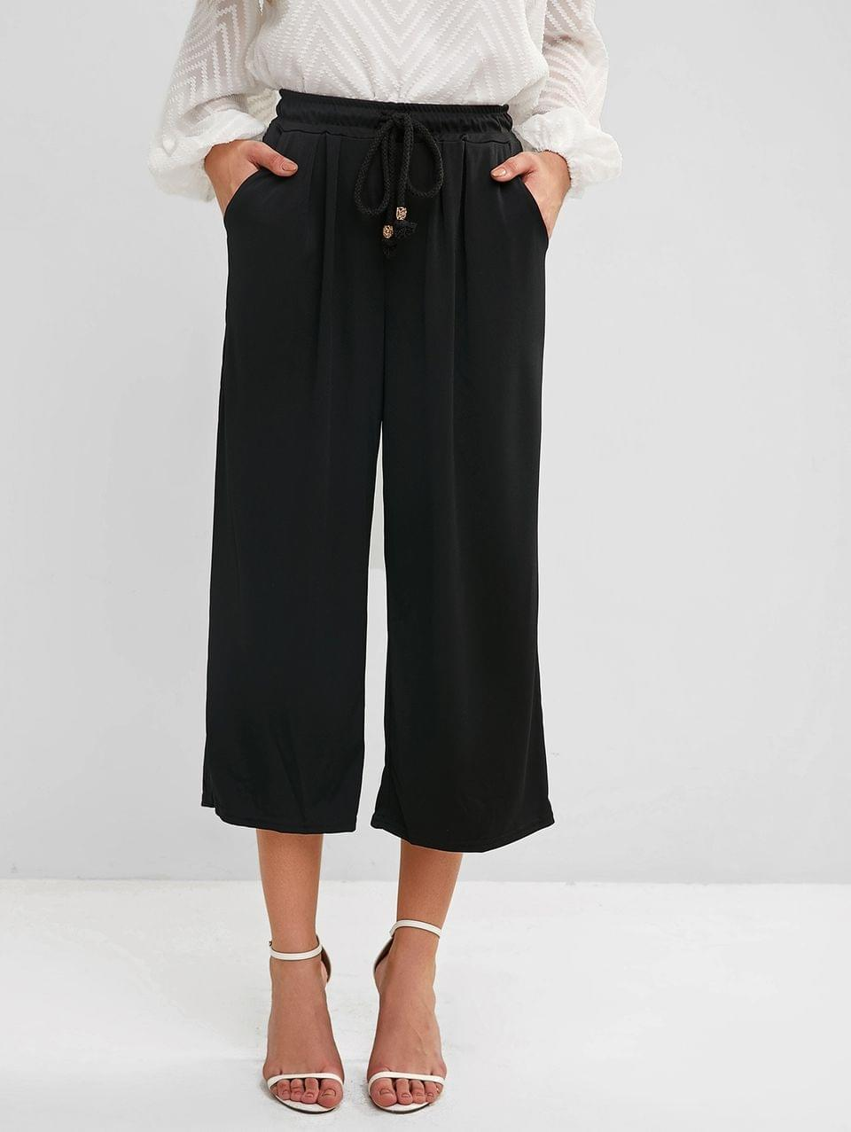 Women's Drawstring Pocket Gaucho Pants - Black L