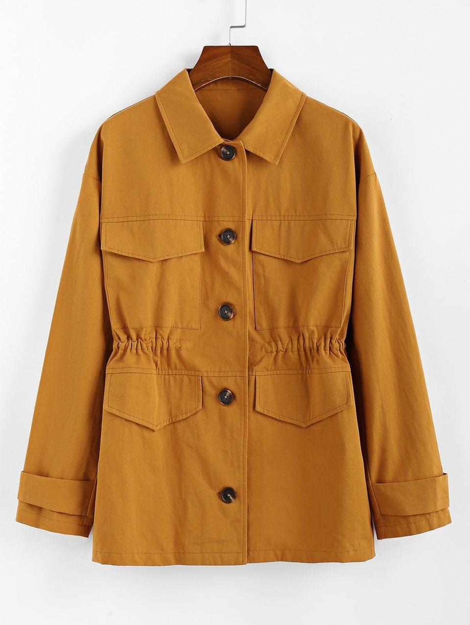 Women's Flap Pocket Single Breasted Drawstring Coat - Cinnamon Xl