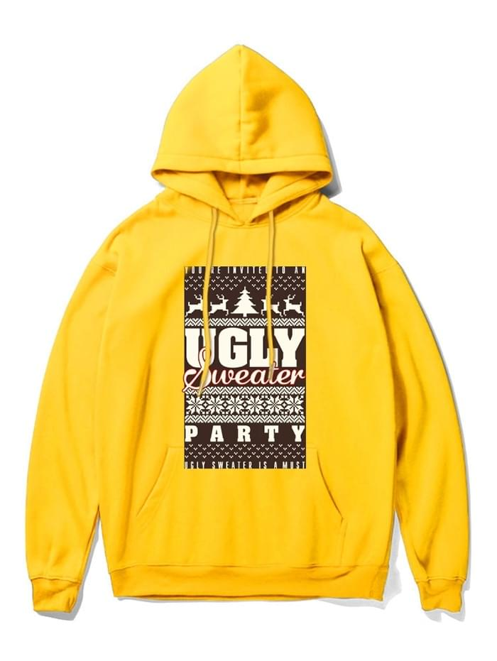 Men's Christmas Graphic Printed Long-sleeved Hoodie - Yellow 2xl