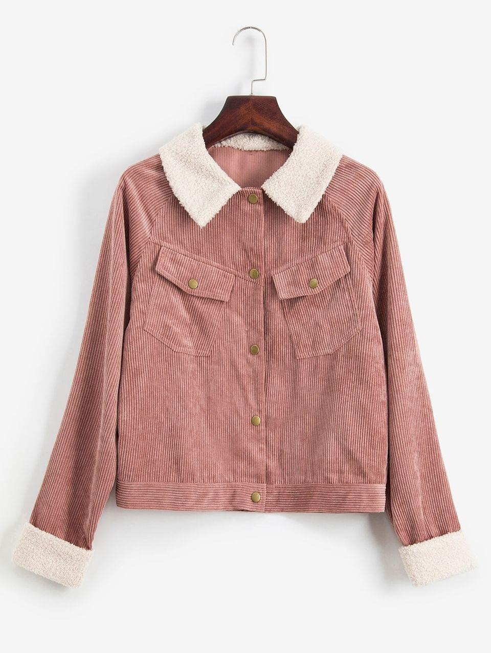 Women's Cuffed Sleeves Snap Button Pockets Corduroy Jacket - Khaki Rose M