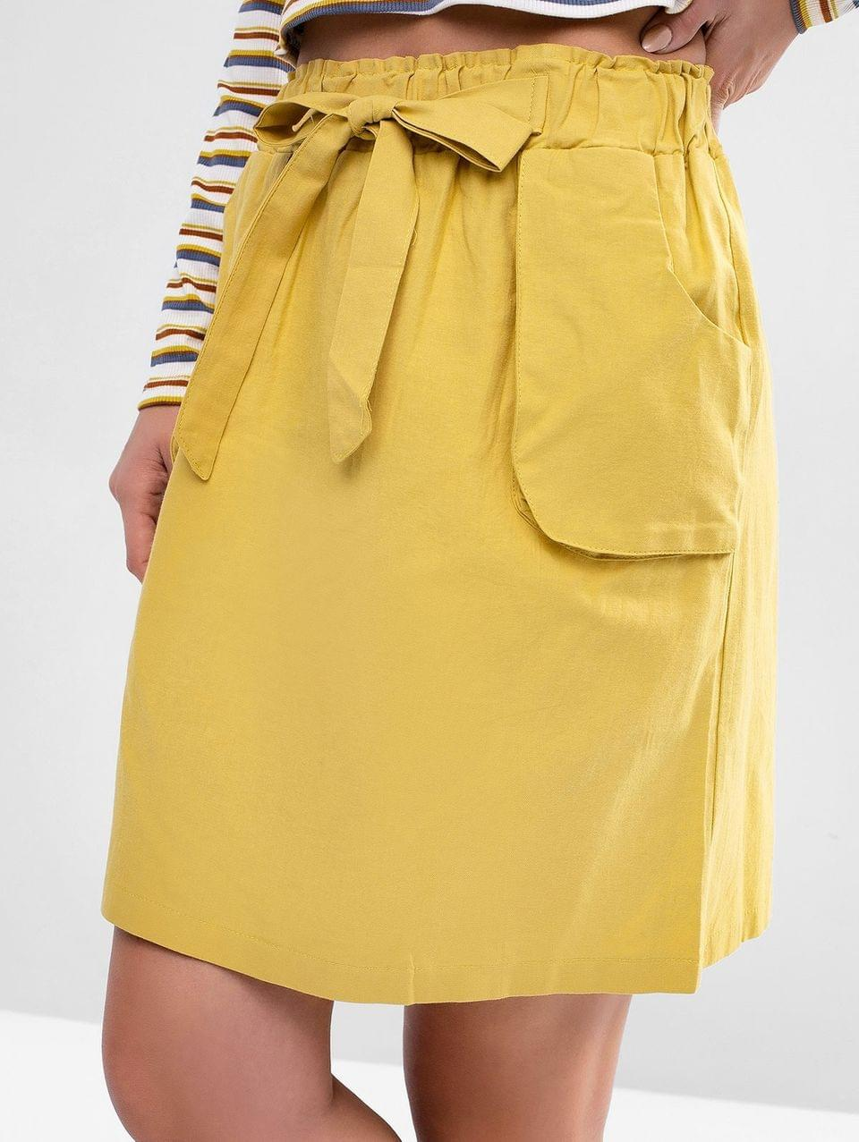Women's Tied High Waisted Pocket Mini Skirt - Yellow S
