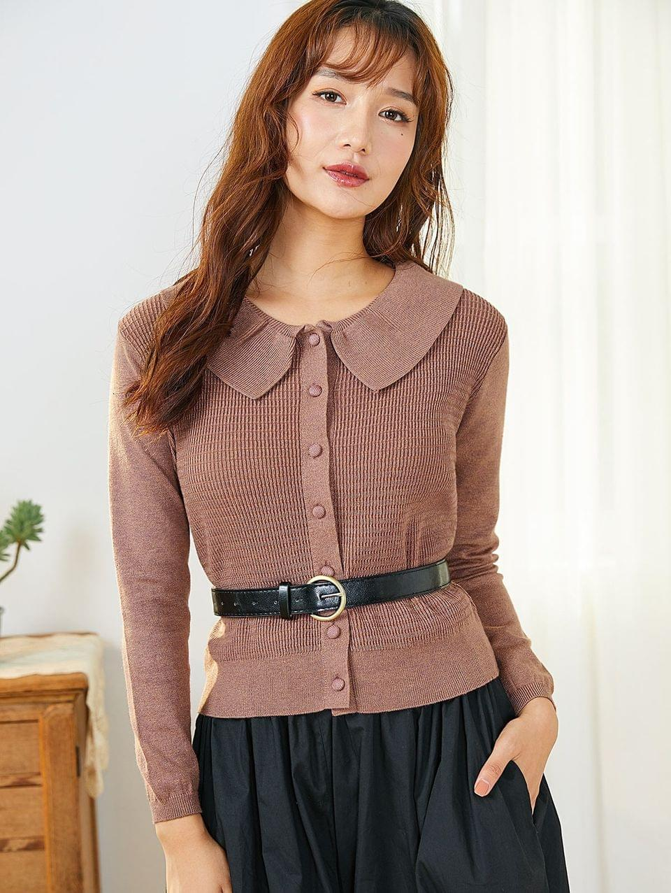 Women's Button Up Smocked Plain Cardigan - Rosy Brown