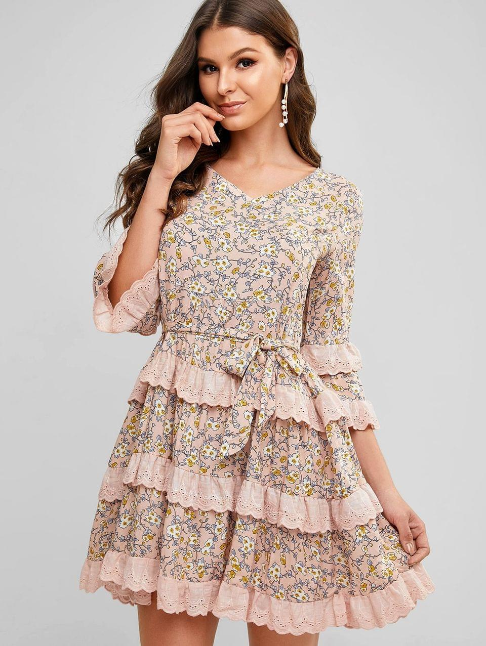 Women's Ditsy Print Broderie Anglaise Ruffle Smock Dress - Champagne L