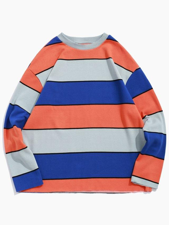 MEN Color-blocking Striped Drop Shoulder Knitted Sweatshirt - Multi-b M