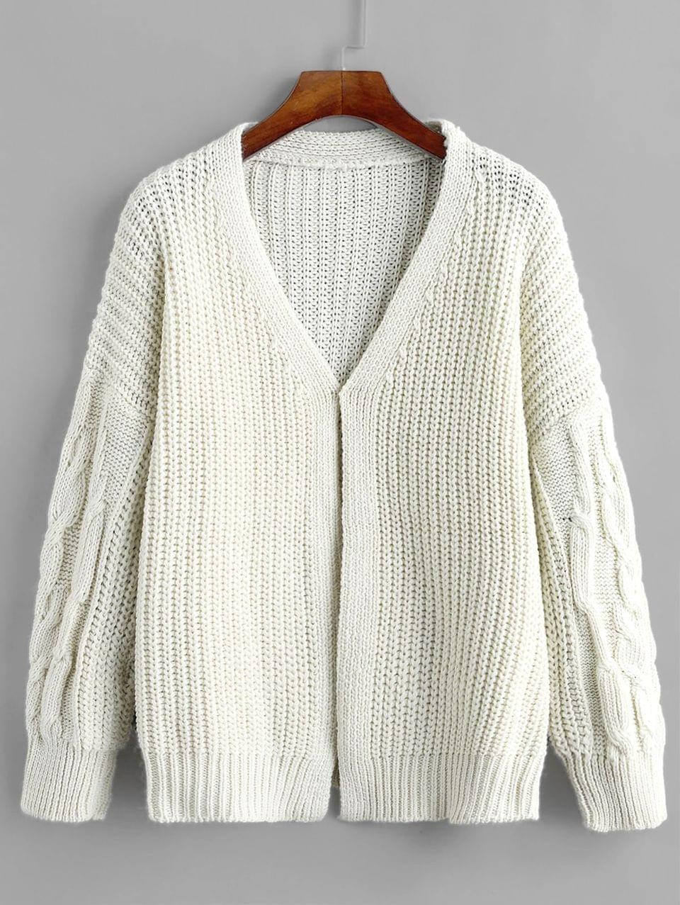Women's Chunky Cable Knit Drop Shoulder Cardigan - Warm White