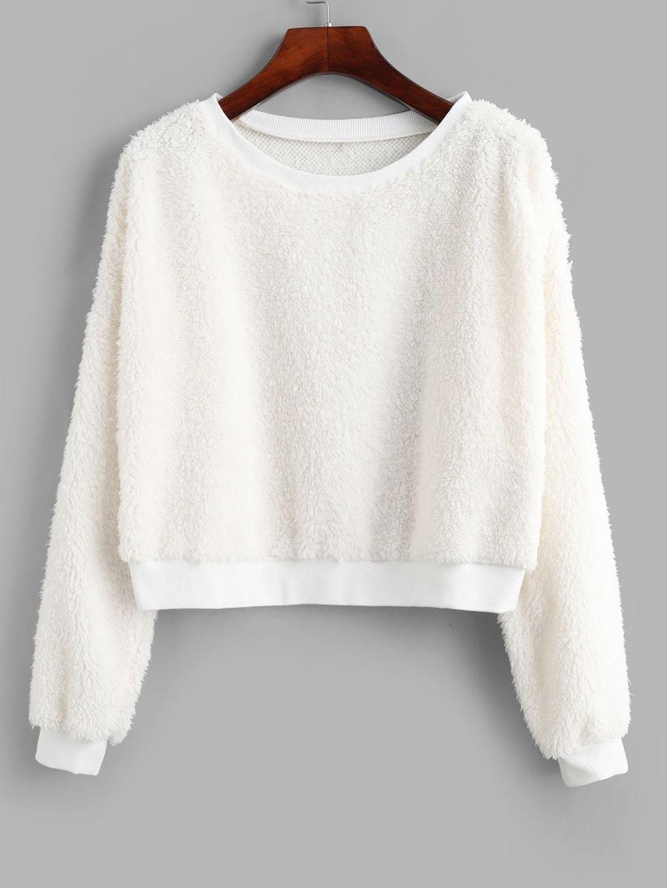 Women's Drop Shoulder Crop Teddy Sweatshirt - White S