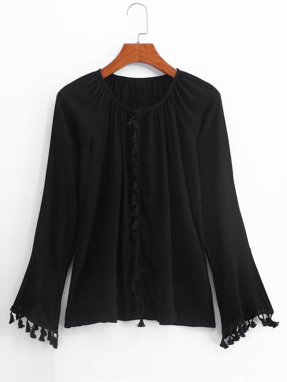 Women's Raglan Sleeve Tassels Blouse - Black Xl